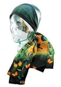 Image of Limited Edition Lily Greenwood 100% Silk Scarf - Butterflies on Green/Gold