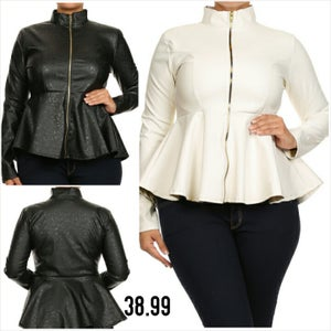 Image of Faux Leather Blazer