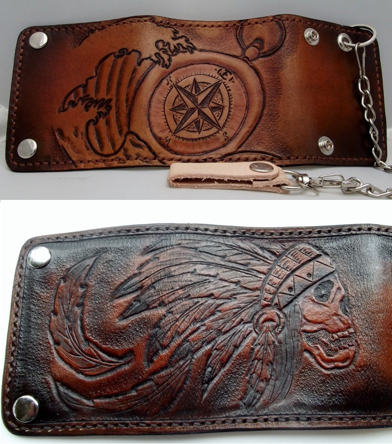Flaquito Leather Custom Hand Tooled Leather Trifold