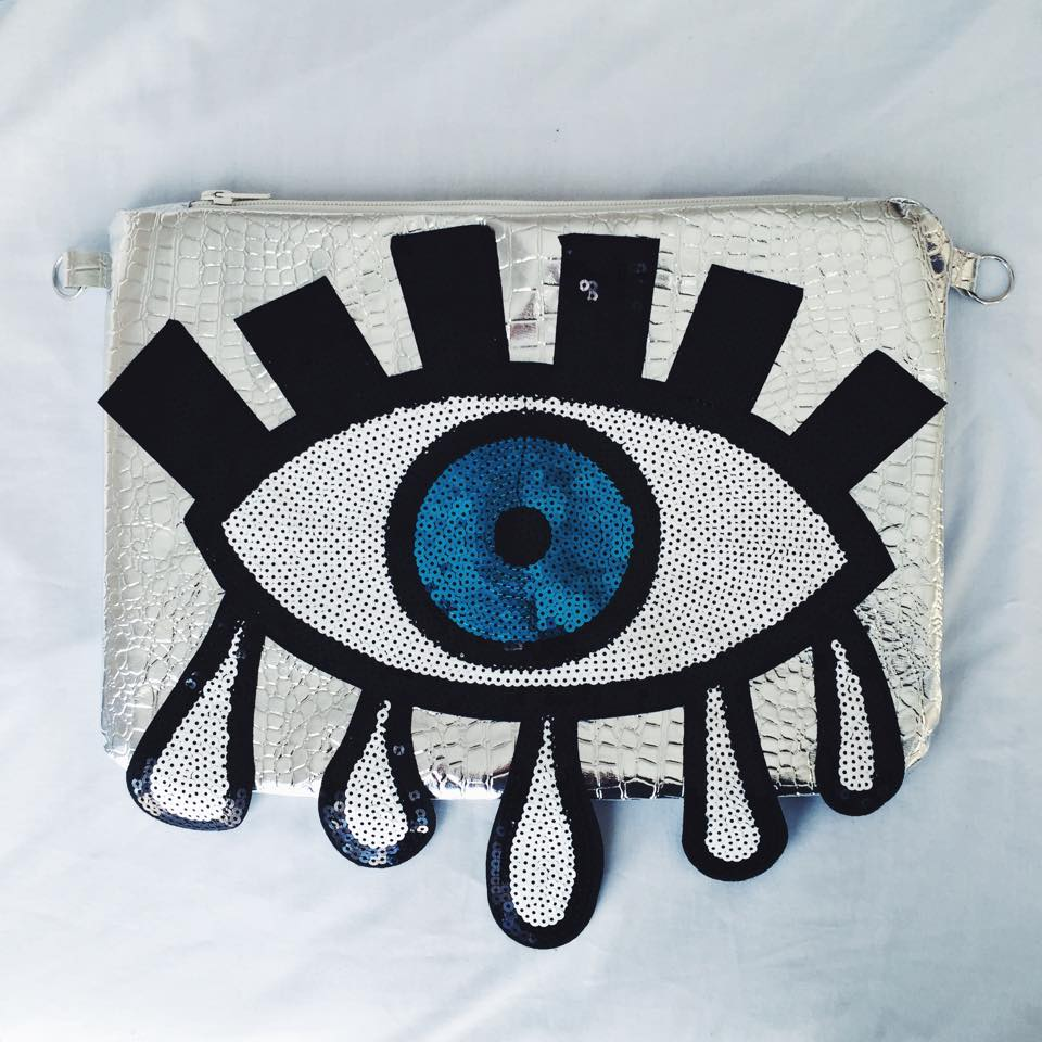 Image of Third Eye Drip Clutch/Across Bag (Mirrored Silver)