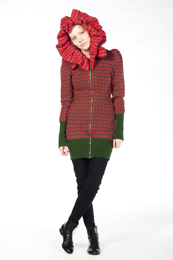 Image of HOODIE TRIINU GREEN-RED