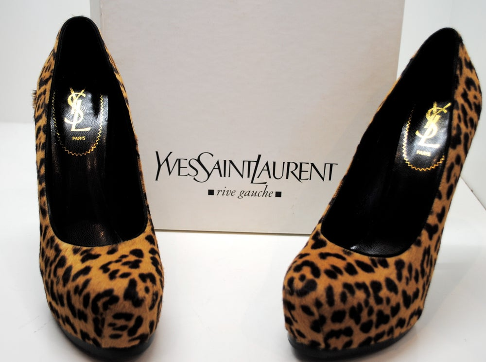 "Image of Saint Laurent ""Tribtoo"" Leopard Pony Hair Platform Heels"