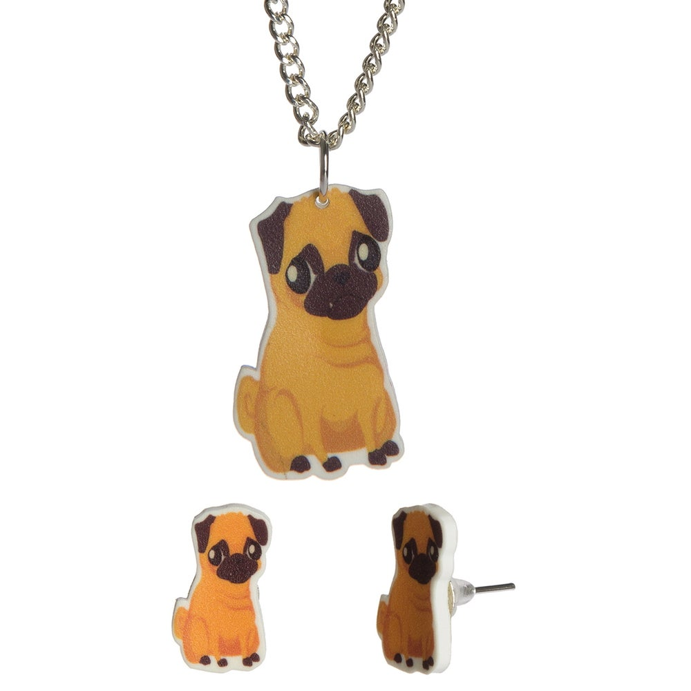 Image of Pug Necklace/Earrings  **FEARURED IN MIZZ MAGAZINE**