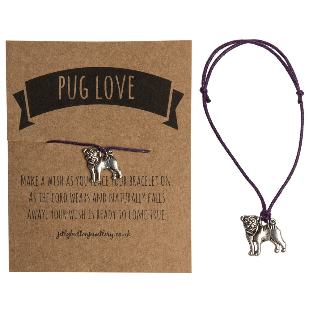 Image of Pug Adjustable Cord Bracelet