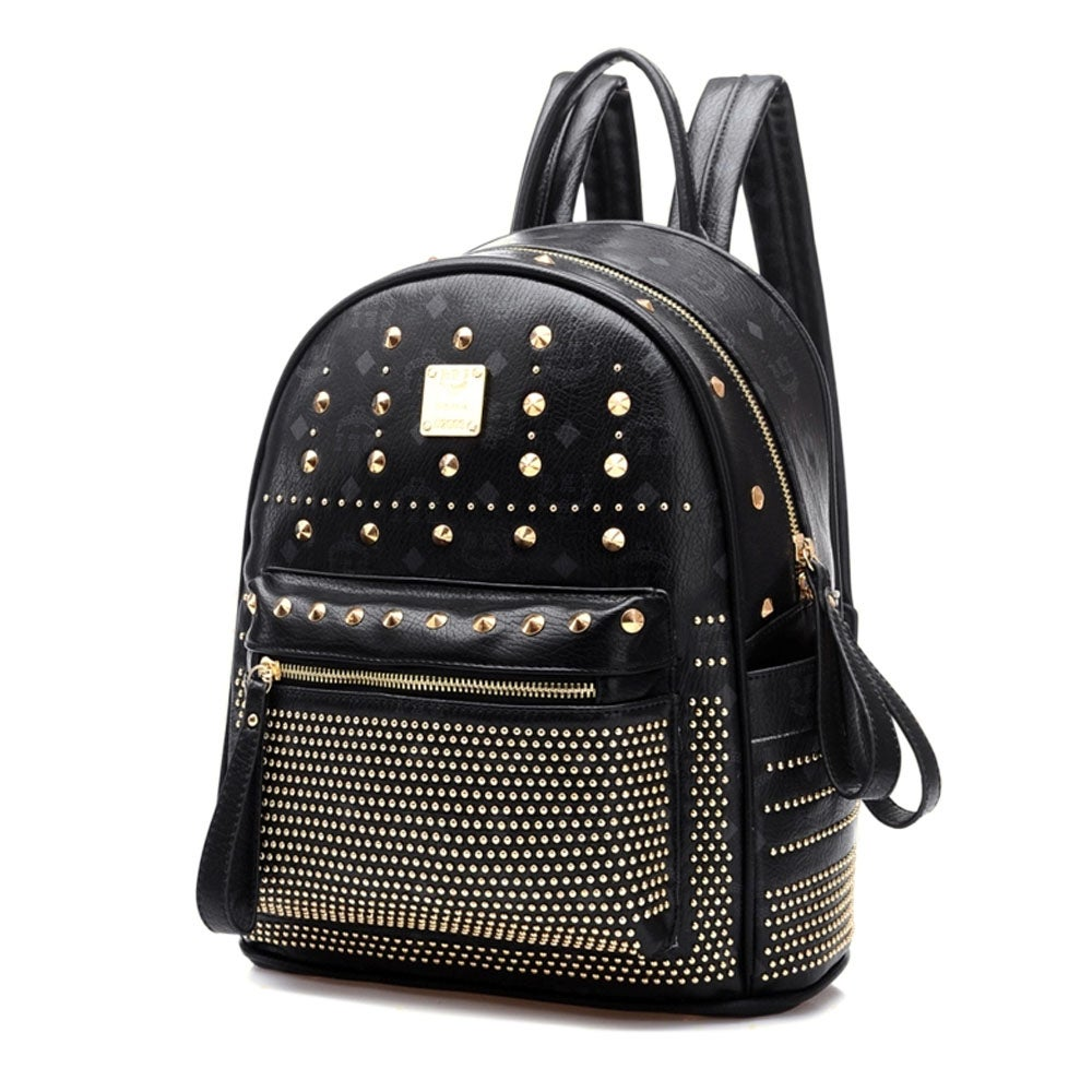Image of [grxjy5204236]Retro Rivets Backpack School Bag