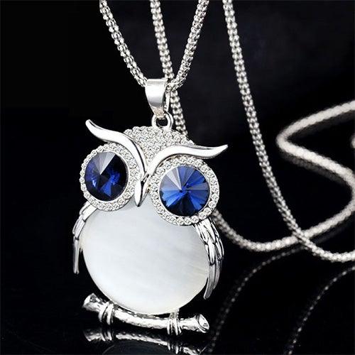 Image of [grxjy5100342]Fashion Sparkly Rhinestone Owl Pendant Necklace