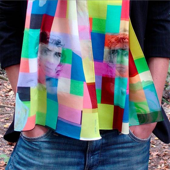 Image of Digitally printed silk scarf David, Roses, Ruben