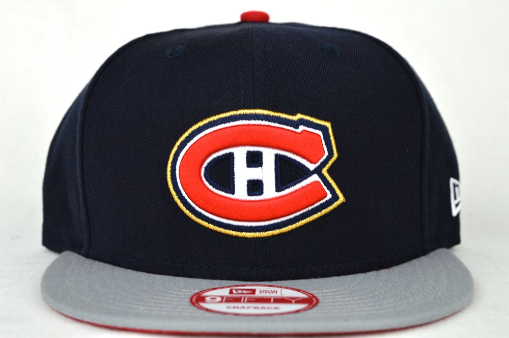 Image of MONTREAL CANADIANS NAVY BLUE/GREY/RED NEW ERA SNAPBACK