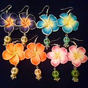 Image of Tiki Hawaiian Tropical Flower Mexican Candy Skull Sugar Skull Rockabilly Earrings