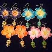 Image of Tiki Hawaiian Tropical Flower Mexican Candy Skull Sugar Skull Rockabilly Earrings