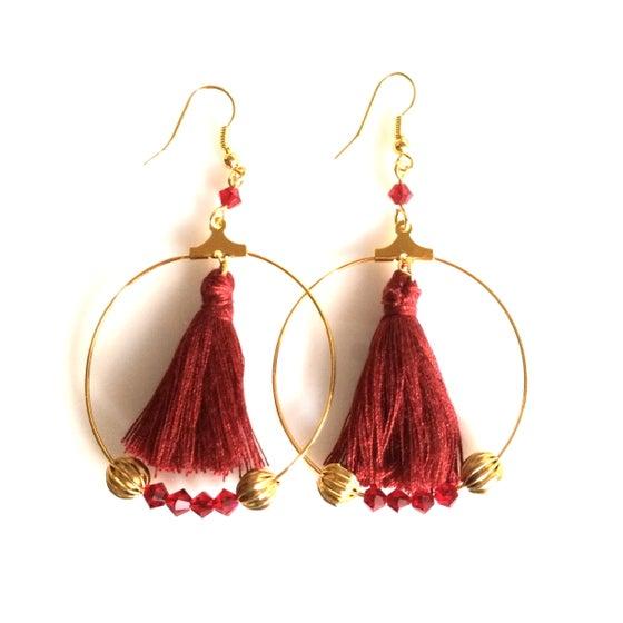 Image of LUCIE Créoles Boucles d'oreilles/Earrings (avec pompons)