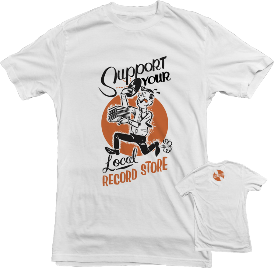 Image of Support Your Local Record Store T-Shirt (Orange/White)