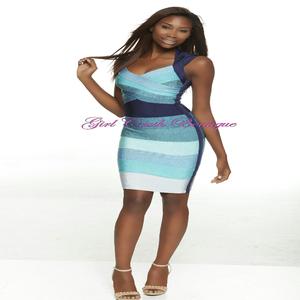 Image of Multi Blue Bandage Bodycon Dress