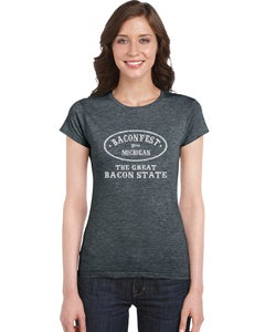 "Image of Baconfest Michigan ""Great Bacon State"" Women's Fit T-Shirt Dark Grey"