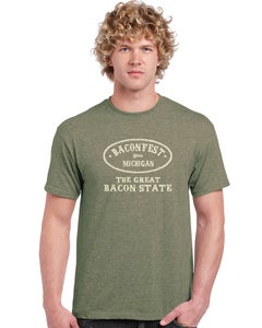 """Image of Baconfest Michigan """"Great Bacon State"""" Mens Fit T-Shirt"""