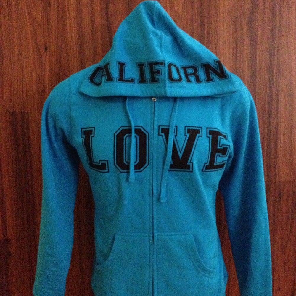 Image of Ladies - California Love Teal Zip up hoody
