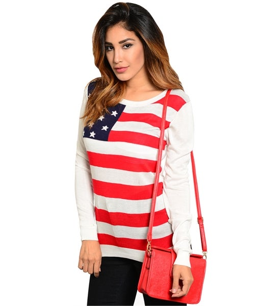 Image of Ivory USA flag print sweater