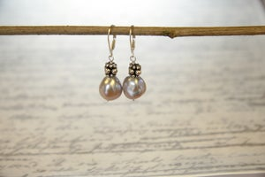 Image of Blush Baroque and Sterling Silver Earrings
