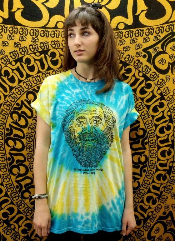 Image of R.I.P Alexander 'Sasha' Shulgin tie dye t-shirt