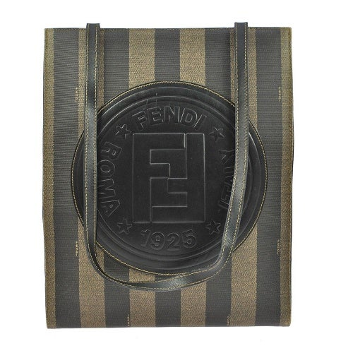Image of SOLD OUT Fendi Roma Authentic Leather Pequin Tote Bag