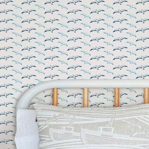 Image of Gulls Wallpaper - Washed Denim
