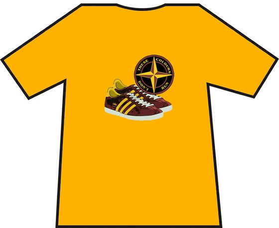 Image of Motherwell, Bradford, etc Claret & Amber Trainers & Badge T-Shirts.