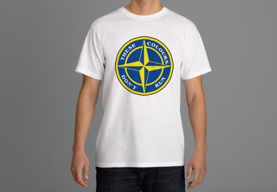 Image of These Colours Don't Run Blue & Yellow Star Design T-Shirt.