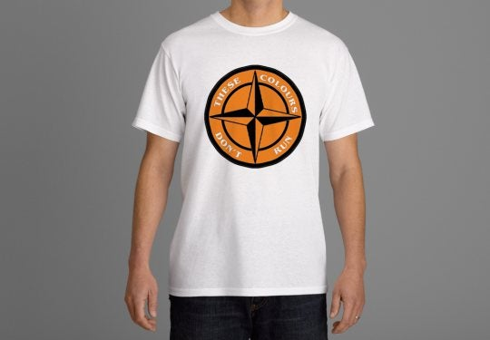 Image of These Colours Don't Run Tangerine & Black Star Design T-Shirt.