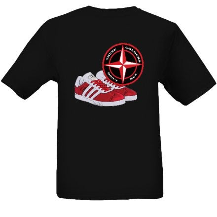 Image of These Colours Don't Run Red & Black Trainers & Badge T-Shirt.