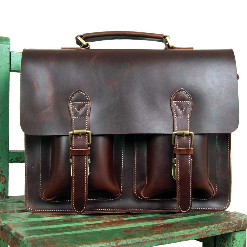 "Image of Handmade Superior Leather Briefcase / Messenger / 14"" 15"" Laptop 13"" 15"" MacBook Bag (n67-12)"