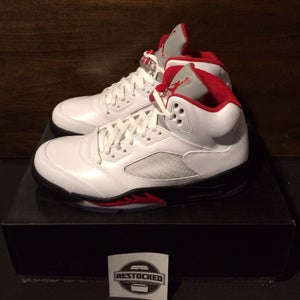 Image of Preowned Air Jordan 5 V Fire Red Silver Tongue