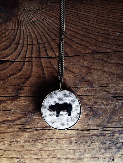 Image of Bear Cross Stitched Pendant