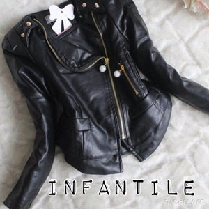 Image of Black Leather & Lace Jacket with Pearl Accents Gold Studs and Asymmetrical Zipper