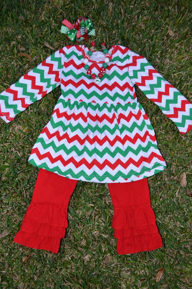 Image of Christmas Red and Green Chevron Top & Ruffle Pant Outfit