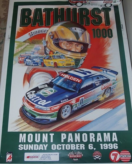Image of Bathurst 1996 Race poster. Larry Perkins Holden.