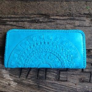 Image of Mandala Leather Clutch (Turquoise)
