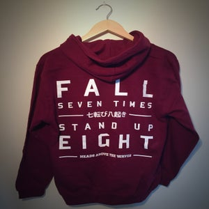 Image of 'Stand Up Eight' Maroon zip hoodie