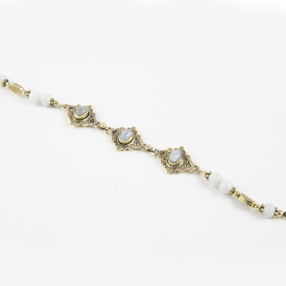 Image of Mehndi inspired bracelets in onyx and moonstone