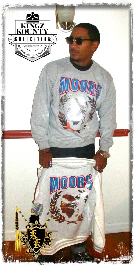Image of VICTORY MOORS SWEATSHIRT- GREY/RED&BLUE/SILVER
