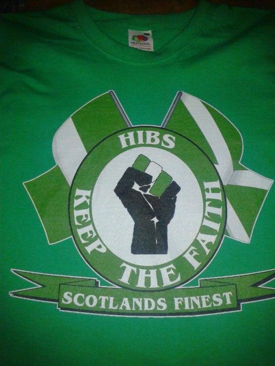 Image of Hibs, Hibernian, Keep The Faith with Flags T-Shirt.