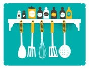 Image of A Place For Everything Kitchen Print - Spices & Utensils