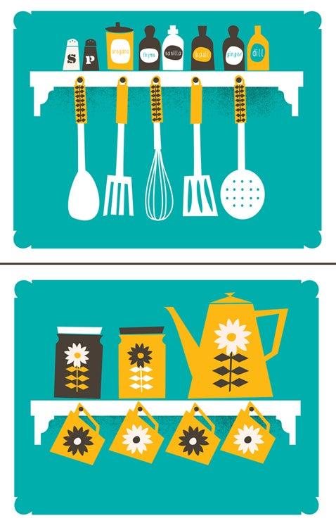strawberryluna — kitchen art print set - coffee & spice rack prints