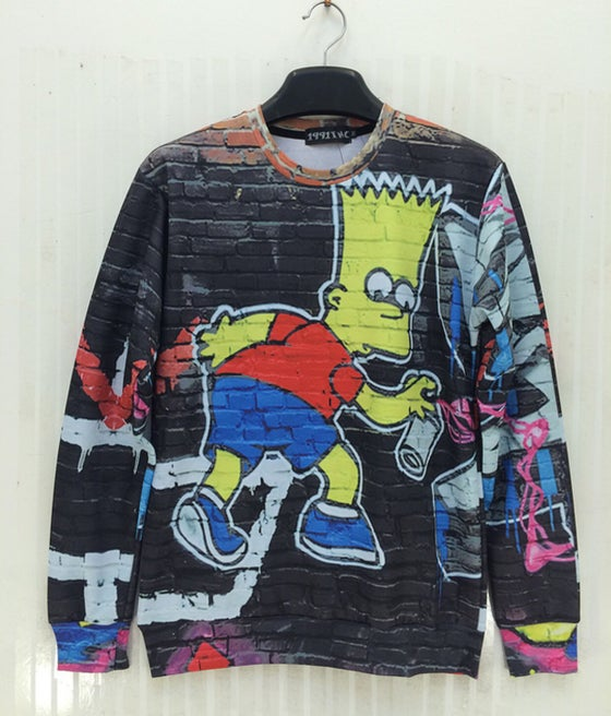 Image of Mens Bart Simpson Graffti Pullover