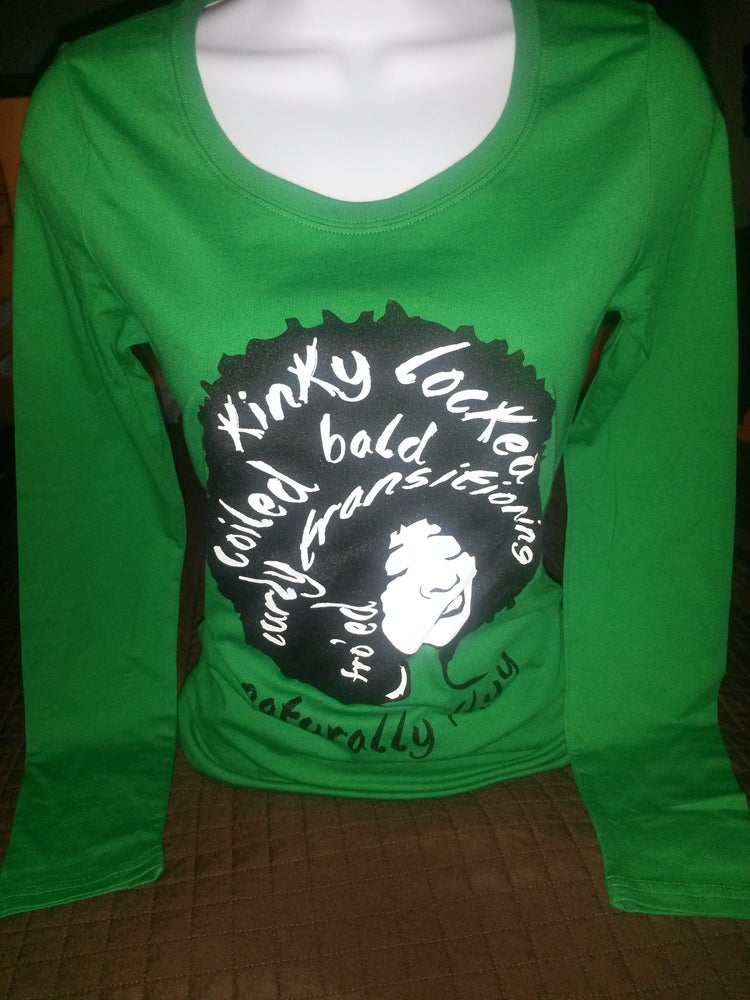 Image of Naturally Flyy -Longsleeve( Green tee) The Good luck tee