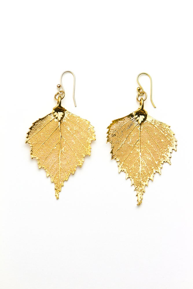 Image of Real Birch Leaf Earrings Preserved in Precious Metals