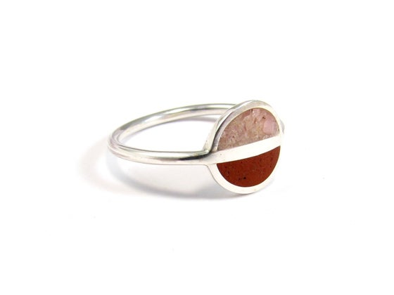 Image of Sterling Silver Ring -  Pink and Red - Saturn Ring - Modern Ring