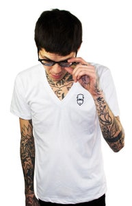 Image of Embroidered V-Neck (White) (Mens)
