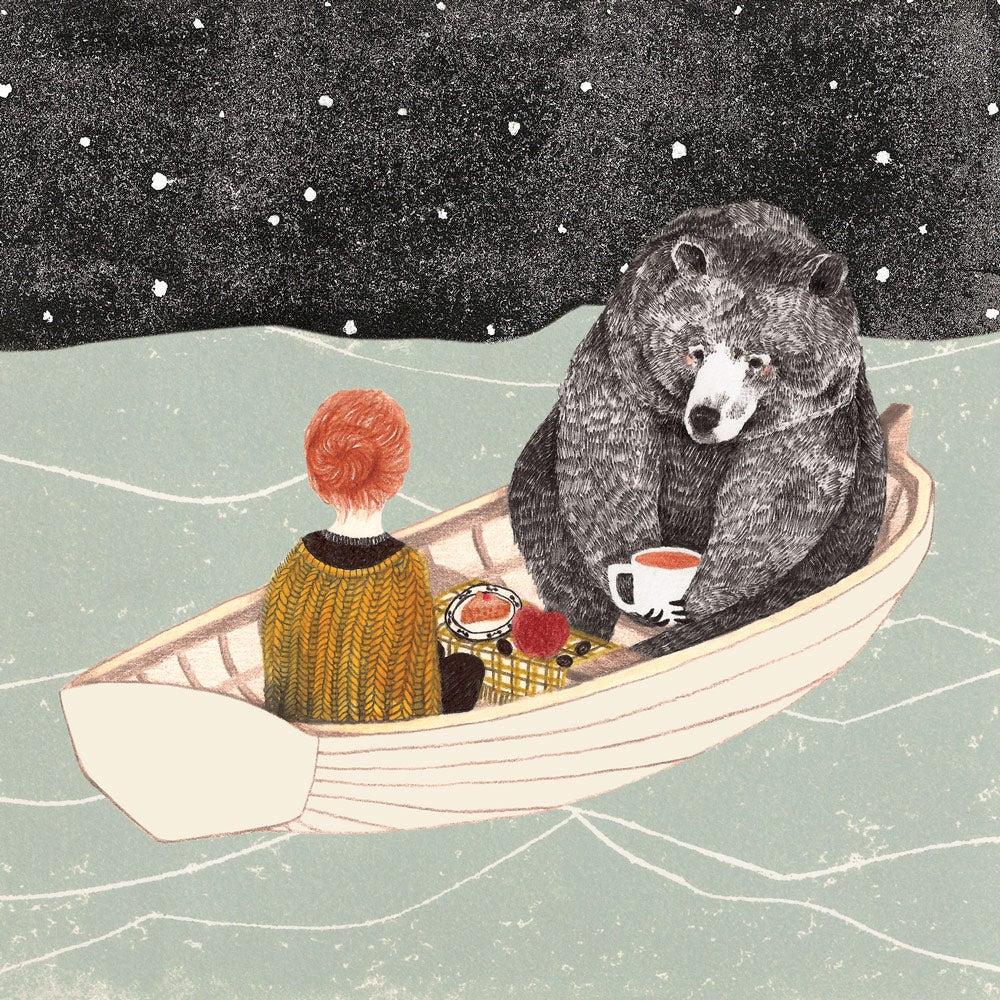 "Image of Carte postale ""petite fille et ours"""