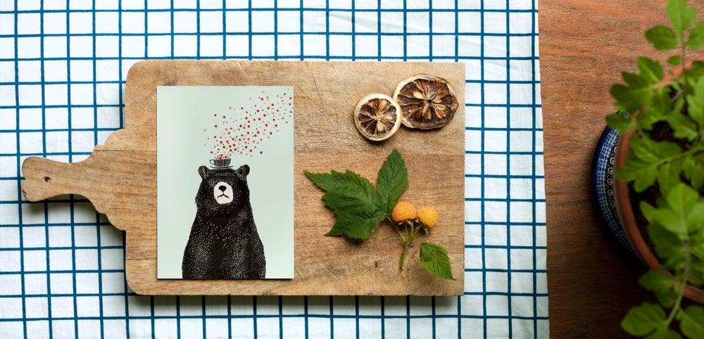 """Image of Carte postale """"l'ours á la tasse"""""""
