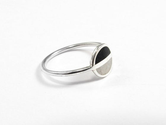 Image of Sterling Silver Ring - Black and White - Saturn Ring